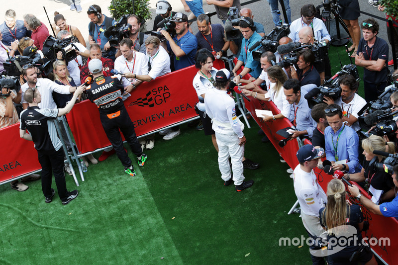 (L to R): Nico Hulkenberg, Sahara Force India F1; Fernando Alonso, McLaren; and Max Verstappen, Red Bull Racing with the media