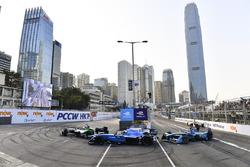 Lucas di Grassi, Audi Sport ABT Schaeffler, leads Sébastien Buemi, Renault e.Dams, and Jean Antonio Felix Da Costa, Andretti Formula E