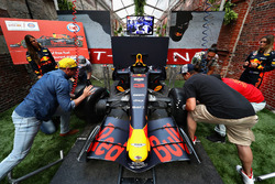 Race fans compete in the Red Bull Racing Pit Stop Challenge