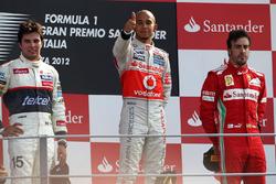 Podium: Lewis Hamilton, McLaren, Sergio Perez, Sauber and Fernando Alonso, Ferrari