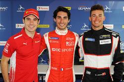 Le poleman LMP2 Paul-Loup Chatin, IDEC Sport Racing, le poleman LMP3 Mikkel Jensen, AT Racing, le poleman GTE Miguel Molina, JMW Motorsport