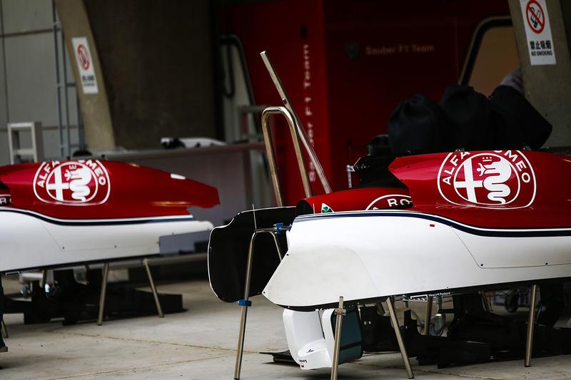 Sauber bodywork in the pit lane outside of the team's garage