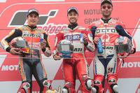 Podio: l vincitore della gara Andrea Dovizioso, Ducati Team, il secondo classificato Marc Marquez, Repsol Honda Team, il terzo classificato Danilo Petrucci, Pramac Racing
