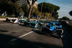 Sébastien Buemi, Renault e.Dams, Nelson Piquet Jr., Jaguar Racing y Lucas di Grassi, Audi Sport ABT Schaeffler
