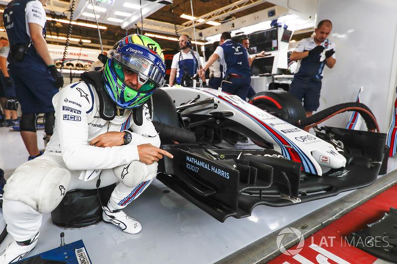 Felipe Massa, Williams, points to the name Nathaniel Harris, that of the newborn son of Claire Williams, Deputy Team Principal, Williams
