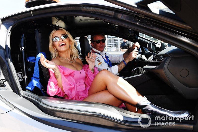 Singer Rita Ora in a BMW i8 Safety Car with Alejandro Agag, CEO, Formula E