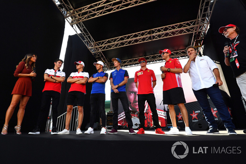 Federica Masolin, Sky Italia Presenter on stage with Charles Leclerc, Alfa Romeo Sauber F1 Team, Marcus Ericsson, Alfa Romeo Sauber F1 Team, Pierre Gasly, Scuderia Toro Rosso Toro Rosso, Brendon Hartley, Scuderia Toro Rosso, Kimi Raikkonen, Ferrari and Sebastian Vettel, Ferrari