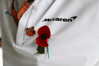A Remembrance Day poppy on a McLaren team member