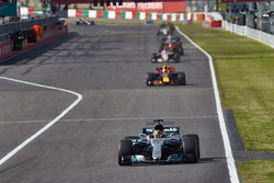 Lewis Hamilton, Mercedes AMG F1 W08, Max Verstappen, Red Bull Racing RB13, Esteban Ocon, Sahara Force India F1 VJM10, Daniel Ricciardo, Red Bull Racing RB13