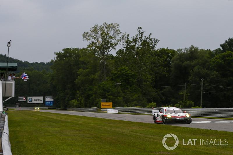 #911 Porsche Team North America Porsche 911 RSR: Patrick Pilet, Dirk Werner, Takes the Checker