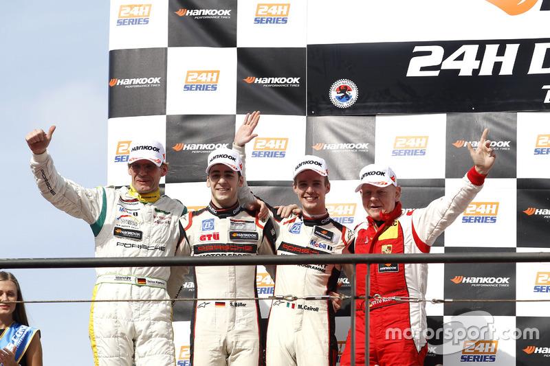 Podium: second place #12 Manthey Racing Porsche 991 GT3 R: Otto Klohs, Sven Müller, Matteo Cairoli,