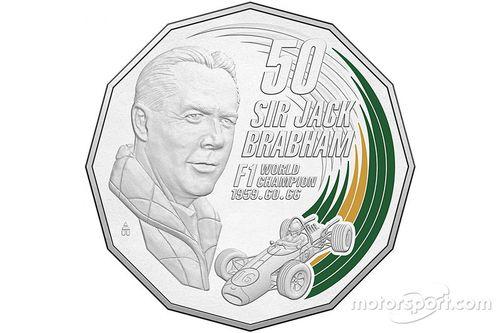 Moneda de Sir Jack Brabham en el Palacio de la Moneda de Australia