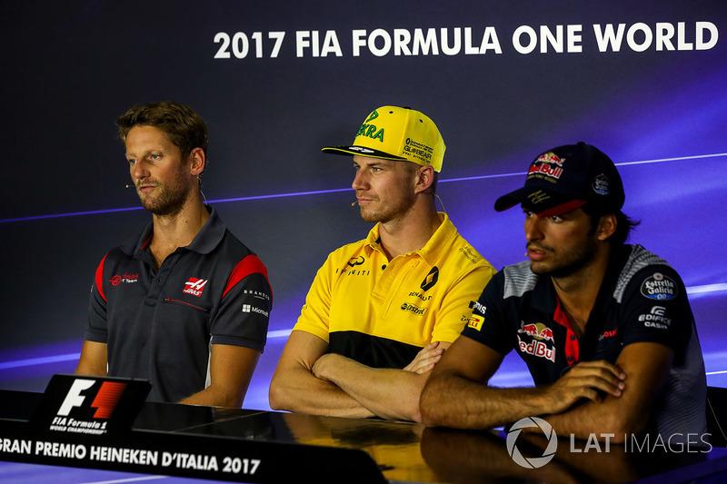 Romain Grosjean, Haas F1 Team, Nico Hulkenberg, Renault Sport F1 Team and Carlos Sainz Jr., Scuderia Toro Rosso in the Press Conference