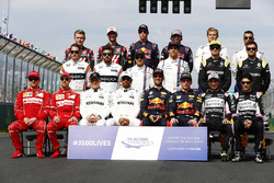 The drivers' group photo: Valtteri Bottas, Mercedes AMG, Lewis Hamilton, Mercedes AMG, Daniel Ricciardo, Red Bull Racing, Max Verstappen, Red Bull, Sergio Perez, Force India, and Esteban Ocon, Force India. Middle row, L-R: Stoffel Vandoorne, McLaren, Ferna