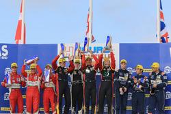 LMGTE podium: winners Rory Butcher, Robert Smith, Andrea Bertolini, JMW Motorsport, second place Johnny Laursen, Mikkel Mac, Mikkel Jensen, Formula Racing, third place Andrew Howard, Darren Turner, Alex MacDowall, Aston Martin Racing