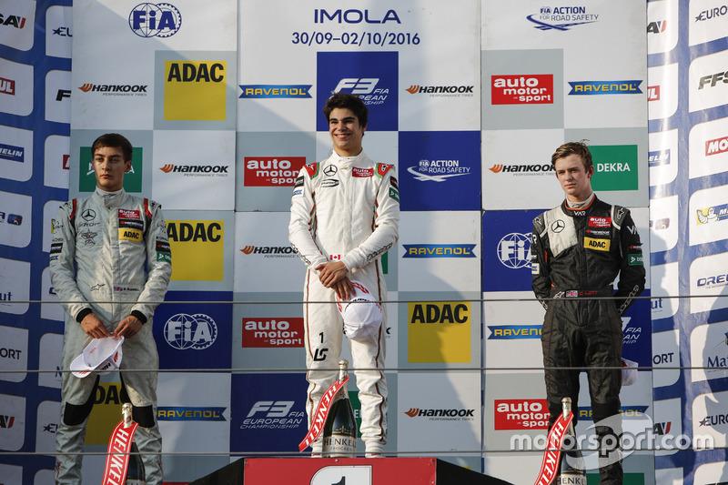 Podium: Reace winner Lance Stroll, Prema Powerteam Dallara F312 – Mercedes-Benz; second place George Russell, HitechGP Dallara F312 – Mercedes-Benz; third place Callum Ilott, Van Amersfoort Racing Dallara F312 – Mercedes-Benz