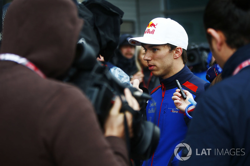 Pierre Gasly, Toro Rosso, speaks to the media
