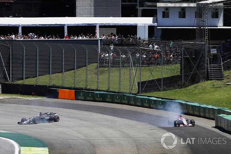 Ромен Грожан, Haas F1 Team VF-17, Естебан Окон, Sahara Force India F1 VJM10