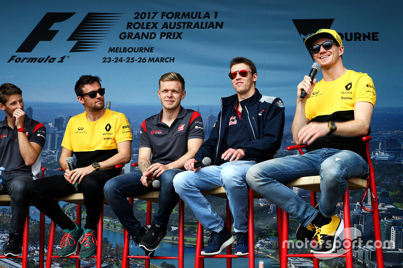 Romain Grosjean, Haas F1 Team; Jolyon Palmer, Renault Sport F1 Team; Kevin Magnussen, Haas F1 Team;