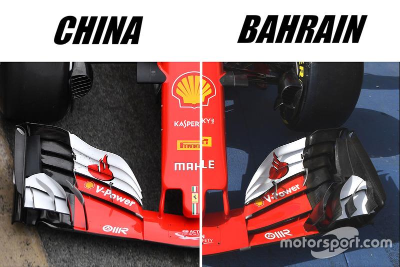 Ferrari SF70H ön kanat karşılaştırması