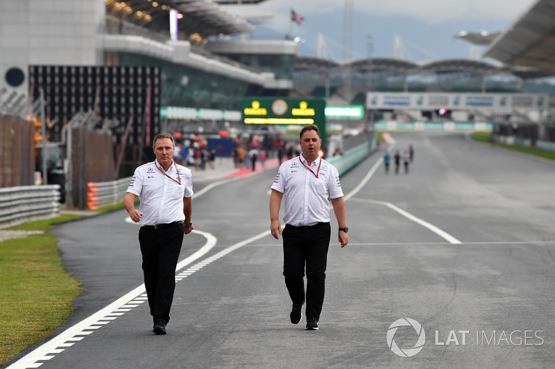 Ron Meadows, Mercedes AMG F1 Team Manager walks the track