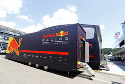 A Red Bull transporter next to the team's hospitality area