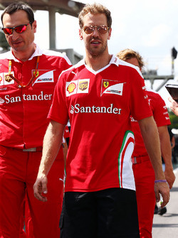 Sebastian Vettel, Ferrari walks the circuit with the team