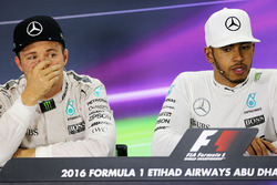 Nico Rosberg, Mercedes AMG F1 with team mate Lewis Hamilton, Mercedes AMG F1 in the FIA Press Conference