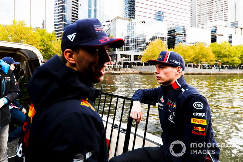 Max Verstappen, Red Bull Racing and Pierre Gasly, Red Bull Racing on the way to the Federation Square event