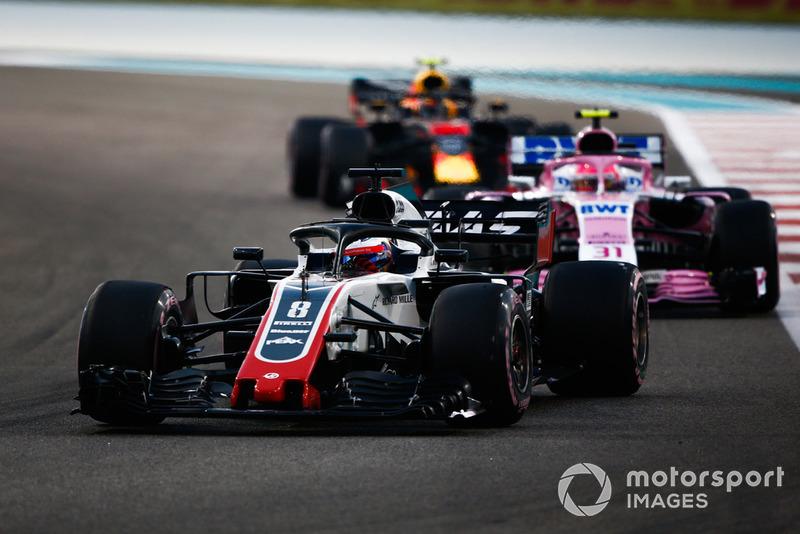 Ромен Грожан, Haas F1 Team VF-18, попереду суперників