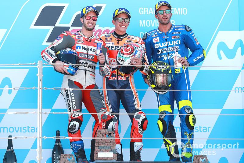 #14 GP de Aragón - Podio: Marc Márquez, Andrea Dovizioso, Andrea Iannone
