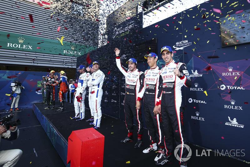 Ganadores, Fernando Alonso, Kazuki Nakajima, Sébastien Buemi, Toyota Gazoo Racing