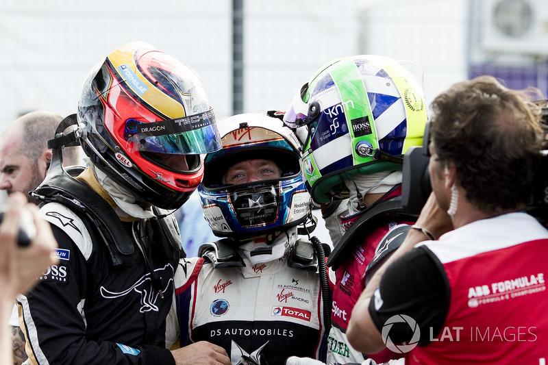Jean-Eric Vergne, Techeetah, festeggia con Sam Bird, DS Virgin Racing, Lucas di Grassi, Audi Sport ABT Schaeffler