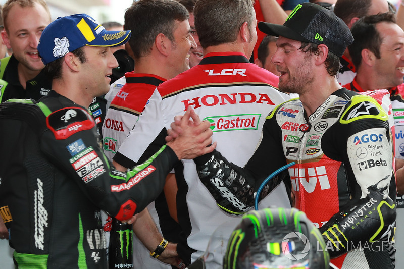 Podium kedua: Johann Zarco, Monster Yamaha Tech 3, Race winner Cal Crutchlow, Team LCR Honda