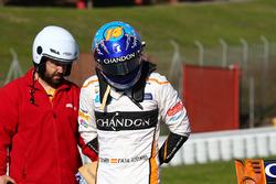 Fernando Alonso, McLaren MCL33 à l'arrêt sur le bord de piste
