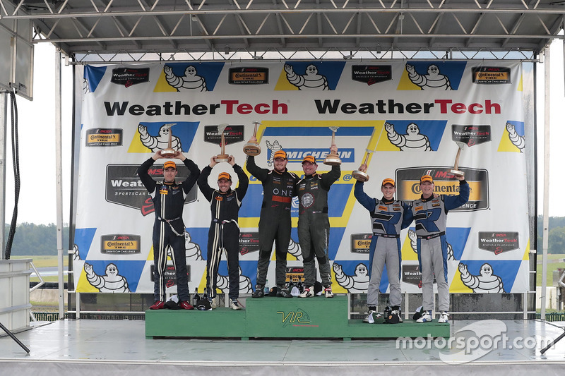 Podium: race winners Daniel Burkett, Marc Miller, CJ Wilson Racing, second place Scott Maxwell, Billy Johnson, Multimatic Motorsports, third place Cameron Cassels, Trent Hindman, Bodymotion Racing