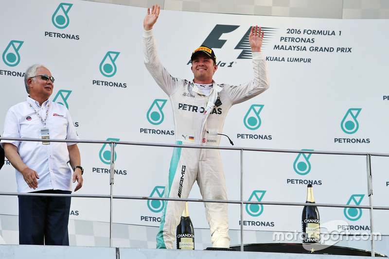 Nico Rosberg, Mercedes AMG F1 celebrates his third position on the podium