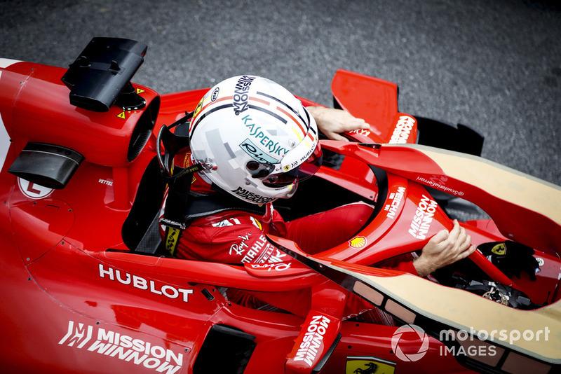 Sebastian Vettel, Ferrari, arrive dans le Parc Fermé