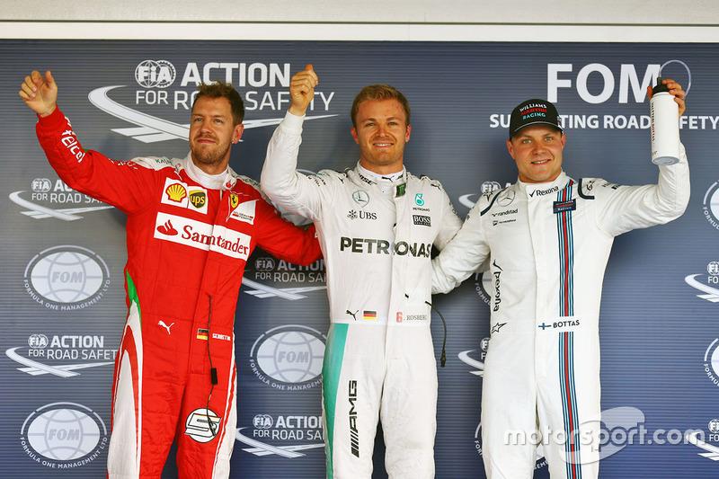 Polesitter Nico Rosberg, 2. Sebastian Vettel (Startplatzstrafe), 3. Valtteri Bottas