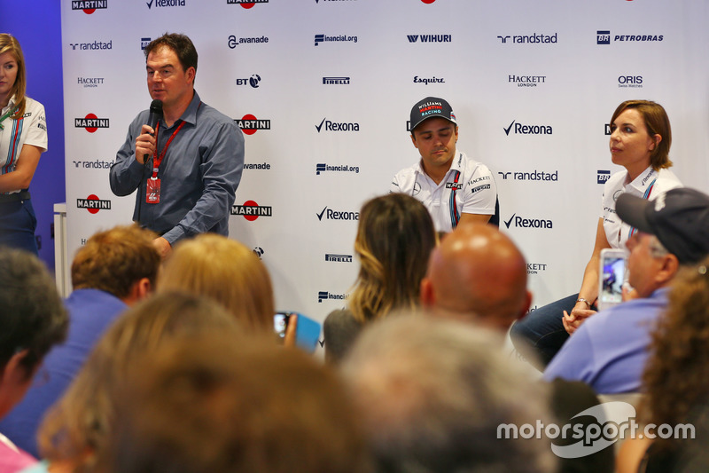 (L to R): James Allen, with Felipe Massa, Williams and Claire Williams, Williams Deputy Team Principal. Felipe announces his retirement from F1 at the end of the season