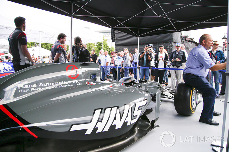 The Haas F1 Team VF-17 on display on the teams stand