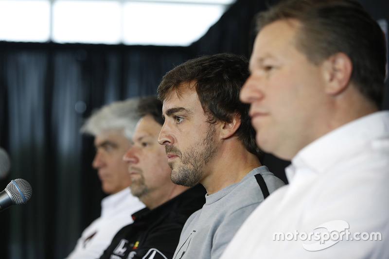 Mark Miles, Michael Andretti, Andretti Autosport team owner, Fernando Alonso, Zak Brown press conference