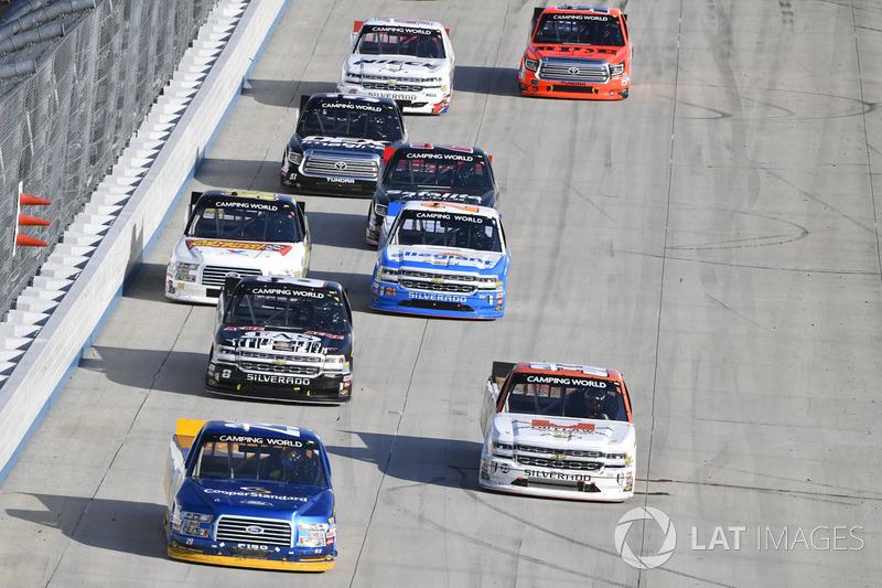 Chase Briscoe, Brad Keselowski Racing, Ford; Kaz Grala, GMS Racing, Chevrolet; John Hunter Nemechek, SWM-NEMCO Motorsports, Chevrolet