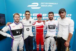 Sam Bird, DS Virgin Racing, Sébastien Buemi, Renault e.Dams, Felix Rosenqvist, Mahindra Racing,Jose Maria Lopez, DS Virgin Racing, and Jean-Eric Vergne, Techeetah, celebrate after qualifying