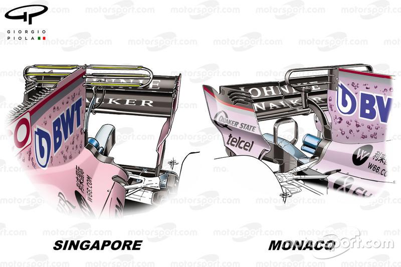 """مقارنة بين جناح """"تي"""" على سيارة فورس انديا """"في.جي.ام10"""" في سنغافورة وموناكو"""