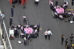 Sergio Perez, Force India VJM11 and Esteban Ocon, Force India VJM11 on the grid