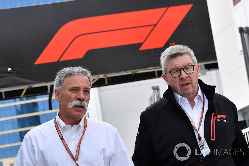 Chase Carey, Chief Executive Officer and Executive Chairman of the Formula One Group, Ross Brawn, Formula One Managing Director of Motorsports