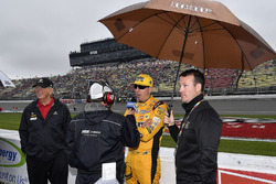 Kyle Busch, Joe Gibbs Racing, Toyota Camry M&M's Red White & Blue speaks with MRN's Alex Hayden