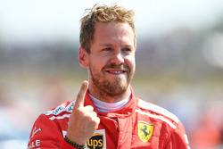 Race winner Sebastian Vettel, Ferrari SF71H, celebrates in Parc Ferme