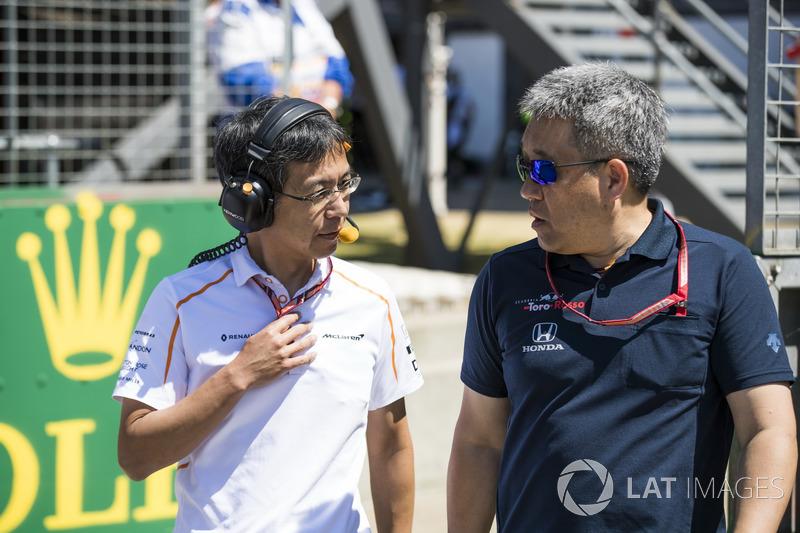 Hiroshi Imai, ingeniero jefe de McLaren, con Masashi Yamamoto, General Manager de Honda Motorsport